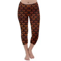 Scales3 Black Marble & Brown Burl Wood (r) Capri Winter Leggings  by trendistuff