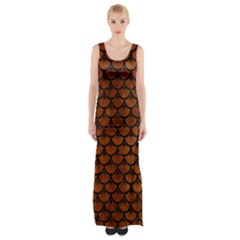 Scales3 Black Marble & Brown Burl Wood (r) Maxi Thigh Split Dress by trendistuff