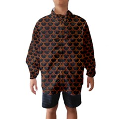 Scales3 Black Marble & Brown Burl Wood Wind Breaker (kids) by trendistuff