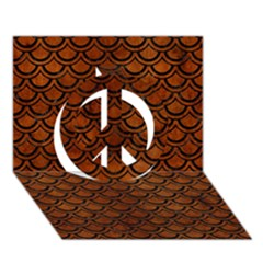 Scales2 Black Marble & Brown Burl Wood (r) Peace Sign 3d Greeting Card (7x5) by trendistuff