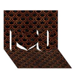 Scales2 Black Marble & Brown Burl Wood I Love You 3d Greeting Card (7x5) by trendistuff