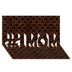 Scales2 Black Marble & Brown Burl Wood #1 Mom 3d Greeting Cards (8x4)