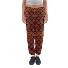 Scales1 Black Marble & Brown Burl Wood (r) Women s Jogger Sweatpants