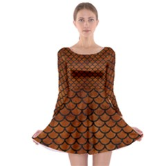 Scales1 Black Marble & Brown Burl Wood (r) Long Sleeve Skater Dress