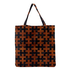 Puzzle1 Black Marble & Brown Burl Wood Grocery Tote Bag by trendistuff