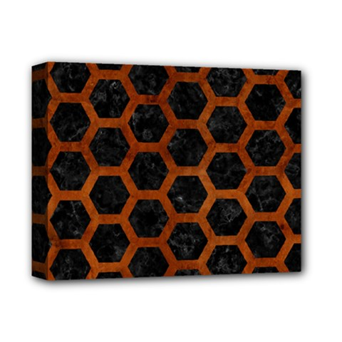 Hexagon2 Black Marble & Brown Burl Wood Deluxe Canvas 14  X 11  (stretched) by trendistuff