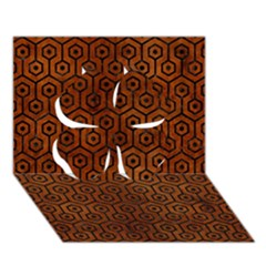 Hexagon1 Black Marble & Brown Burl Wood (r) Clover 3d Greeting Card (7x5)
