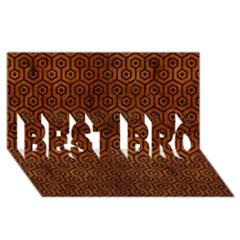 Hexagon1 Black Marble & Brown Burl Wood (r) Best Bro 3d Greeting Card (8x4) by trendistuff