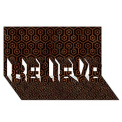 Hexagon1 Black Marble & Brown Burl Wood Believe 3d Greeting Card (8x4) by trendistuff