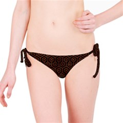 Hexagon1 Black Marble & Brown Burl Wood Bikini Bottom by trendistuff