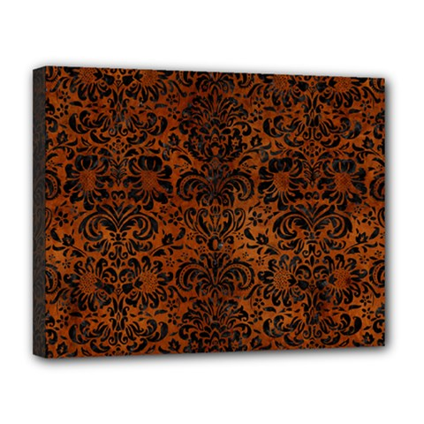 Damask2 Black Marble & Brown Burl Wood (r) Canvas 14  X 11  (stretched)