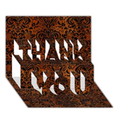 Damask2 Black Marble & Brown Burl Wood (r) Thank You 3d Greeting Card (7x5) by trendistuff