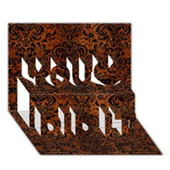 Damask2 Black Marble & Brown Burl Wood (r) You Did It 3d Greeting Card (7x5) by trendistuff