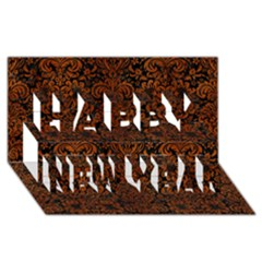 Damask2 Black Marble & Brown Burl Wood Happy New Year 3d Greeting Card (8x4) by trendistuff