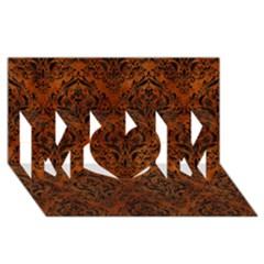 Damask1 Black Marble & Brown Burl Wood (r) Mom 3d Greeting Card (8x4) by trendistuff