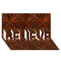 Damask1 Black Marble & Brown Burl Wood (r) Believe 3d Greeting Card (8x4) by trendistuff
