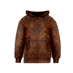 Damask1 Black Marble & Brown Burl Wood (r) Kids  Pullover Hoodie by trendistuff