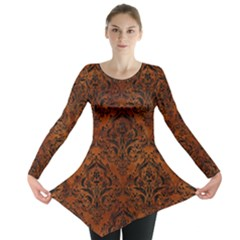 Damask1 Black Marble & Brown Burl Wood (r) Long Sleeve Tunic