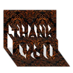 Damask1 Black Marble & Brown Burl Wood Thank You 3d Greeting Card (7x5) by trendistuff