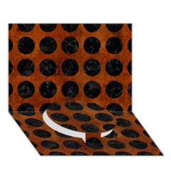 Circles1 Black Marble & Brown Burl Wood (r) Circle Bottom 3d Greeting Card (7x5) by trendistuff
