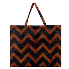 Chevron9 Black Marble & Brown Burl Wood Zipper Large Tote Bag by trendistuff