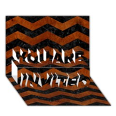 Chevron3 Black Marble & Brown Burl Wood You Are Invited 3d Greeting Card (7x5) by trendistuff
