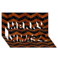 Chevron3 Black Marble & Brown Burl Wood Merry Xmas 3d Greeting Card (8x4) by trendistuff