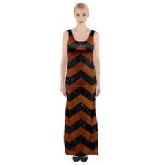Chevron3 Black Marble & Brown Burl Wood Maxi Thigh Split Dress by trendistuff