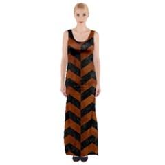 Chevron2 Black Marble & Brown Burl Wood Maxi Thigh Split Dress