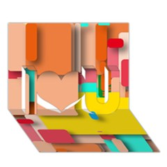 Rounded Rectangles I Love You 3d Greeting Card (7x5)  by hennigdesign