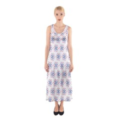 Modern Red And Blue Stars Pattern On White Full Print Maxi Dress by CircusValleyMall