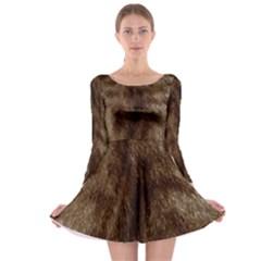 Silber Tiger Fur Long Sleeve Skater Dress