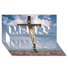Jesus On The Cross Illustration Merry Xmas 3d Greeting Card (8x4)  by dflcprints