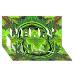 Green Clover Merry Xmas 3d Greeting Card (8x4)  by Delasel