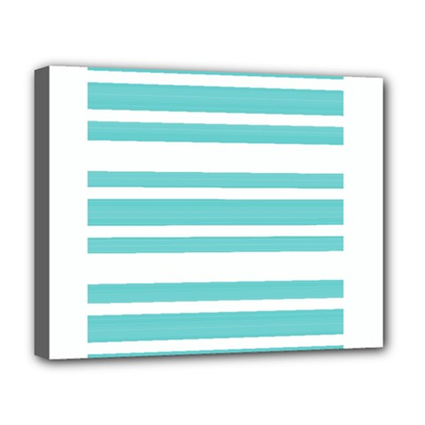 Teal Adn White Stripe Designs Deluxe Canvas 20  X 16   by timelessartoncanvas