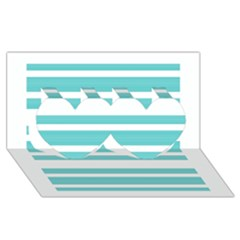 Teal Adn White Stripe Designs Twin Hearts 3d Greeting Card (8x4)  by timelessartoncanvas