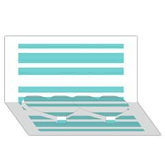 Teal Adn White Stripe Designs Twin Heart Bottom 3d Greeting Card (8x4)  by timelessartoncanvas