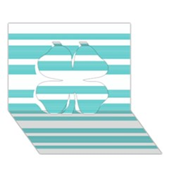 Teal Adn White Stripe Designs Clover 3d Greeting Card (7x5)  by timelessartoncanvas