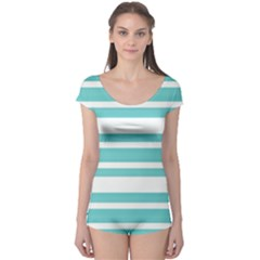 Teal Adn White Stripe Designs Boyleg Leotard (ladies) by timelessartoncanvas