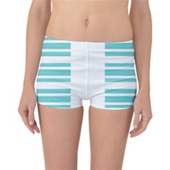 Teal Adn White Stripe Designs Reversible Boyleg Bikini Bottoms by timelessartoncanvas