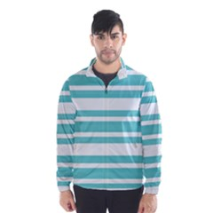 Teal Adn White Stripe Designs Wind Breaker (men) by timelessartoncanvas