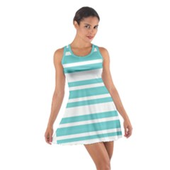 Teal Adn White Stripe Designs Racerback Dresses