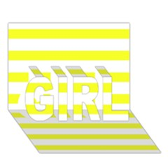 Bright Yellow And White Stripes Girl 3d Greeting Card (7x5)  by timelessartoncanvas