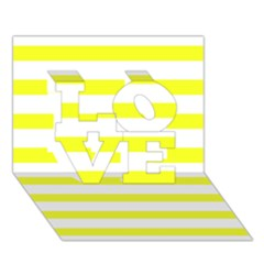 Bright Yellow And White Stripes Love 3d Greeting Card (7x5)  by timelessartoncanvas