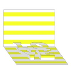 Bright Yellow And White Stripes Love Bottom 3d Greeting Card (7x5)  by timelessartoncanvas