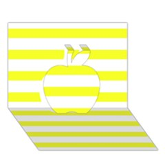 Bright Yellow And White Stripes Apple 3d Greeting Card (7x5)  by timelessartoncanvas