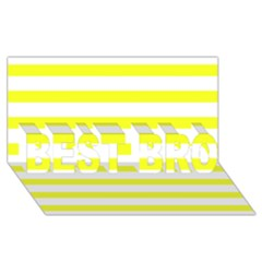 Bright Yellow And White Stripes Best Bro 3d Greeting Card (8x4)  by timelessartoncanvas