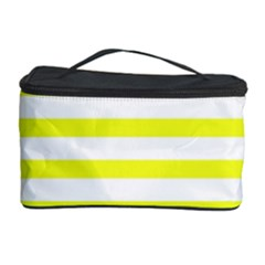 Bright Yellow and White Stripes Cosmetic Storage Cases by timelessartoncanvas