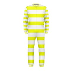 Bright Yellow and White Stripes OnePiece Jumpsuit (Kids) by timelessartoncanvas