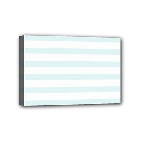 Baby Blue And White Stripes Mini Canvas 6  X 4  by timelessartoncanvas
